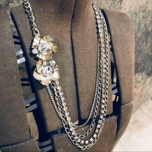 Vintage multi chain floral necklace gold tone